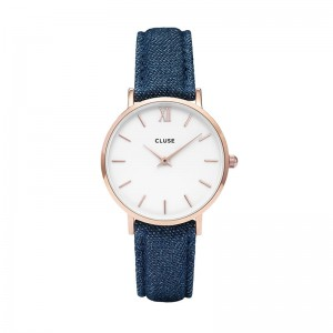 CLUSE MINUIT ROSE GOLD WHITE/BLUE DENIM